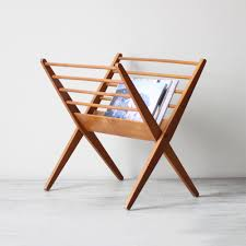 decoration with wood magazine holder — home ideas collection