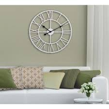 utopia alley oversized roman round wall clock white 30