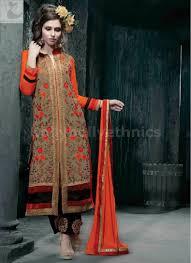 Designer Party Wear Churidar Beige And Orange Designer Party Wear Straight Cut Long Salwar Kameez