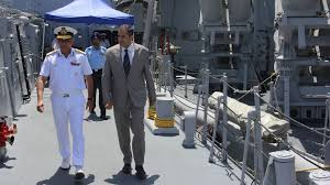 indian ambassador pavan kapoor and rear admiral rb pandit walk the deck of the ins trishul