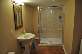 bathroom engaging brown accents wall paint of likeable basement bathroom ideas with glass shower enclosure