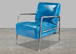 top grain leather blue club chair with metal frame