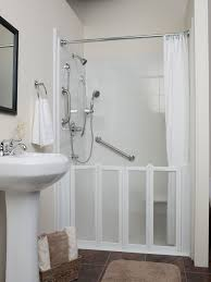free standing vanity colored in white combined with minimalist walk in shower ideas with white d