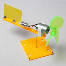 Micro wind turbines generator small DC motor blades w holder DIY