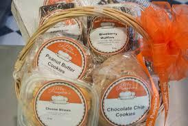 handled basket 3 filled with 6 pack cream cheese brownies 3 pack ins moravian sugarcake mrs pumpkins branded mug orted fruit breads