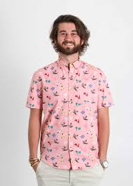 Patterned Button Up Shirts Cool Artistry In Motion Vespa Print BBQ Shirt For Men