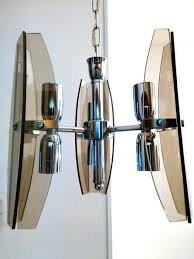 unknown designer six light pendant lamp in chromed steel and smoked crystal