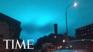 Blue Lights In Sky At Night Pulsating Blue Light Flashes Over New York City After Transformer Explosion Time