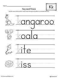 Includes handwriting pages and phonics printables. Say And Trace Letter K Beginning Sound Words Worksheet Letter K Words Tracing Worksheets Preschool Handwriting Worksheets For Kids
