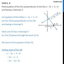 ex 10 3 8 find equation of line perpendicular to x 7y 5