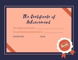 Online Certificate Of Achievement Certificate Template Fotor