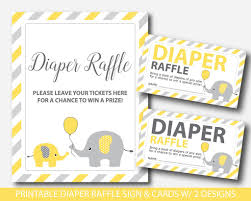 raffle sign yellow elephant diaper raffle tickets elephant baby shower raffle