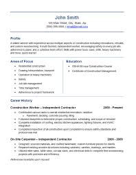 Construction Resume Templates Simple Independent Contractor Resume Example Construction Labor Trades