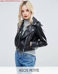 black asos petite ultimate leather look biker jacket with pin badge detail h9soyklf