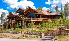 log home designers. ski resort log home mansion among trees designers
