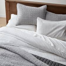 grey belgian flax linen quilt king
