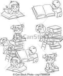 children reading books csp17899539