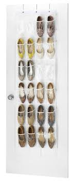 Zober Clear Over the Door Shoe Organizer - 24 Stitch-Secured Pockets, Hanging  Closet