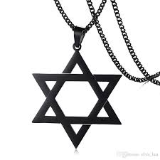 whole hollow megan star of david pendant necklace for men male with 24 cuban link chain stainless steel israel necklace option glass pendant necklaces