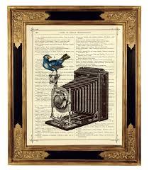 digital printing bird photo camera victorian book page art coloring
