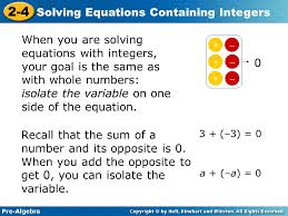 Solving Equations With Integers - Jennarocca