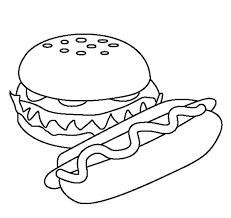 Small Picture Hotdog Coloring Pages Of Food For Kids Foods Coloring pages of