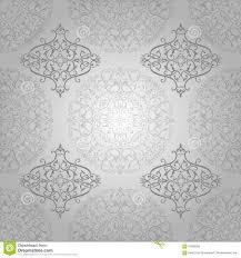 Werveling Van De Behang De Arabische Batik Bloemen Op Zilver Stock