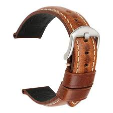 MAIKES Vintage Oil Wax Leather Strap Watch Band 5 Colors ...