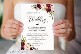 Wedding Invitation Templates With Photo Burgundy Floral Wedding Invitation Template Printable 5x7 Watercolor Wedding Invites Fits Vistaprint Diy Pdf Instant Download 101