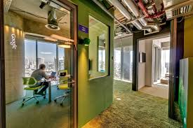 bright green office interior green interior of space viewed through glass door camenzind evolution quirky google bright modern office space