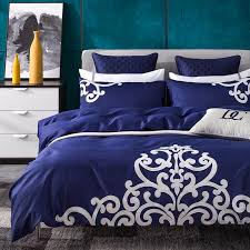 papa mima solid color applique embroidery queen king size duvet cover cotton fabric bedlinens flat sheet set pillow cases