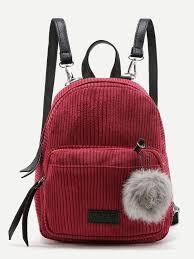 Pom Pom Decorated Corduroy Backpack <b>BURGUNDY</b> | Мода ...