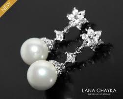 pearl bridal earrings white pearl silver earrings wedding pearl earrings pearl bridal jewelry pearl cubic zirconia chandelier earrings 30 90 usd