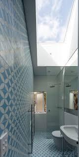 Badezimmer Weiße Keramik Boden Fliesen Blau Glas Mozaic Fliesen Wand