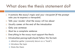 easy steps to a great thesis statement ppt  what does the thesis statement do