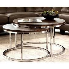 mergot modern chrome 2 piece cocktail round nesting table