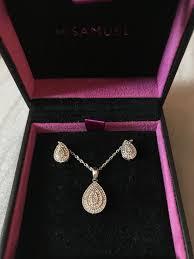 h samuel diamond tear shape earrings and necklace jewellery