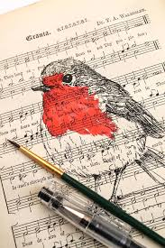 Music Paper Print Robin Screen Print On Vintage Sheet Music Paper