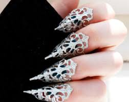 sharp finger claws. nail claw rings - silver adjustable blunt or sharp armour bdsm claws finger r