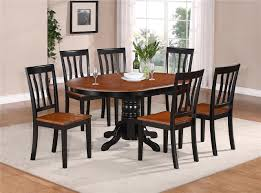 2 tone oval dining tables and chairs oval dinette kitchen dining set table w 6 wood seat chairs in black