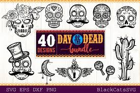 Day Of The Dead Svg Bundle 40 Designs Graphic By Sssilent Rage Creative Fabrica In 2020 Day Of The Dead Graphic Design Cat Skull