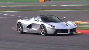 Silver Ferrari LaFerrari hits the track! Start & Acceleration ...