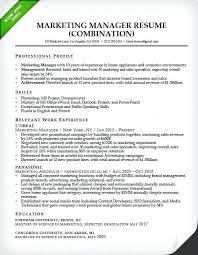 Sample Resumes 2017 Marketing Manager Combination Resume Sample