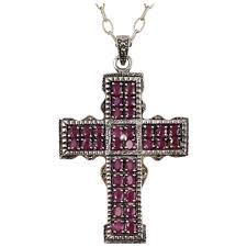 vintage sterling silver ruby encrusted large cross necklace antiquesgk ruby lane