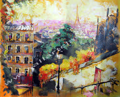 original oil painting view of paris from montmartre
