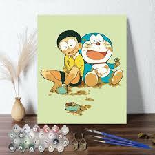 Tranh Tự Tô Màu Sơn Dầu Theo Số Doremon Nobita, tranh số hóa hoạt hình mimi  art TT9002 full khung khung phụ kiện giá cạnh tranh