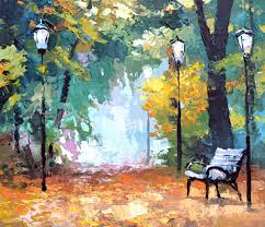 in autumn park art gallery landscape oil palette knife painting on canvas by dmitry spiros