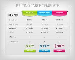 Pricing Template For Services Web Pricing Table Template For Business Plan Comparison Of Services