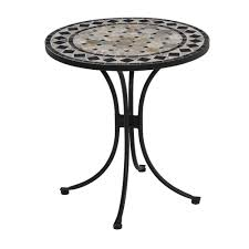 Outdoor Tile Table Top Home Styles 28 In Black And Tan Round Tile Top Patio Bistro Table