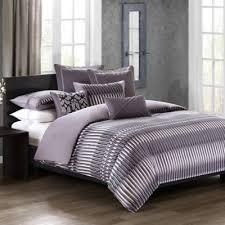 N Natori Abstract Stripe Queen Comforter Set in Grey